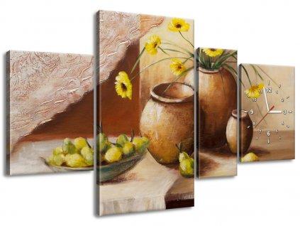 Órás falikép Sárga virágok a vázában 140x70cm  + Ajándék