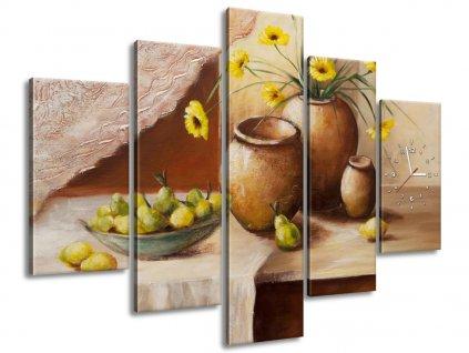 Órás falikép Sárga virágok a vázában 150x105cm  + Ajándék