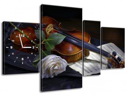 Órás falikép Hegedű és a fehér rózsa 120x70cm  + Ajándék