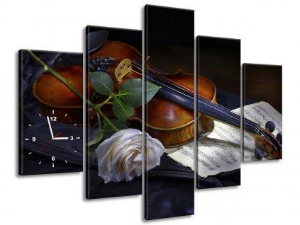 Órás falikép Hegedű és a fehér rózsa 150x105cm  + Ajándék