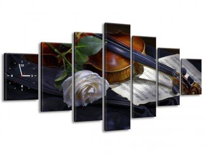 Órás falikép Hegedű és a fehér rózsa 210x100cm  + Ajándék