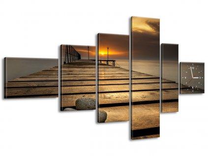 Órás falikép Gyönyörű reggel a mólónál 180x100cm  + Ajándék