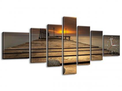 Órás falikép Gyönyörű reggel a mólónál 160x70cm  HD nyomtatás