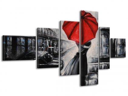 Órás falikép Vörös csók az esőben 180x100cm  + Ajándék