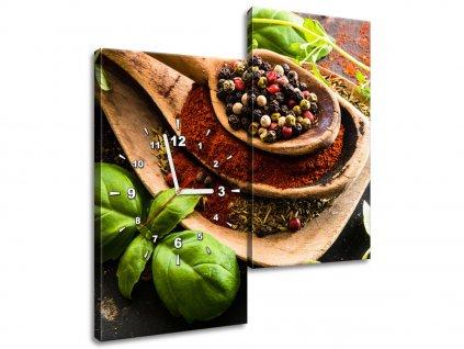 Órás falikép Fűszerek fakanálon 60x60cm  + Ajándék