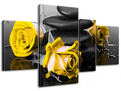 Órás falikép Yellow roses and spa 140x70cm  + Ajándék