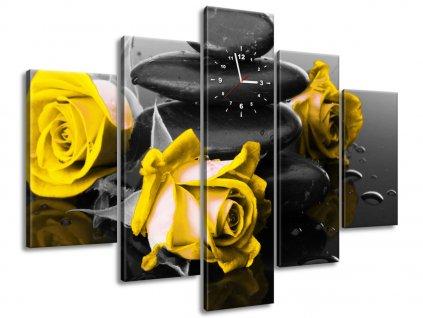 Órás falikép Yellow roses and spa 150x105cm  + Ajándék
