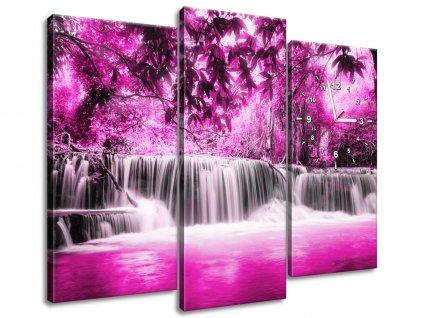 Órás falikép Vízesés a rózsaszín dzsungelben 90x70cm  + Ajándék