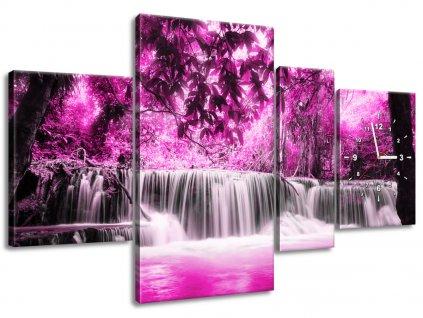 Órás falikép Vízesés a rózsaszín dzsungelben 120x80cm  + Ajándék