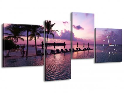 Órás falikép Napnyugta Maldív-szigeteken 140x70cm  HD nyomtatás