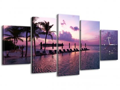 Órás falikép Napnyugta Maldív-szigeteken 150x70cm  HD nyomtatás