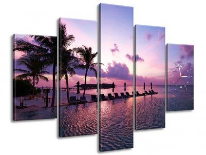 Órás falikép Napnyugta Maldív-szigeteken 150x105cm  HD nyomtatás