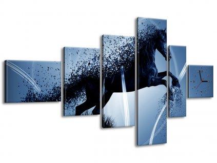 Órás falikép Kék ló - Jakub Banas 180x100cm  + Ajándék