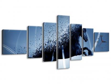 Órás falikép Kék ló - Jakub Banas 160x70cm  + Ajándék