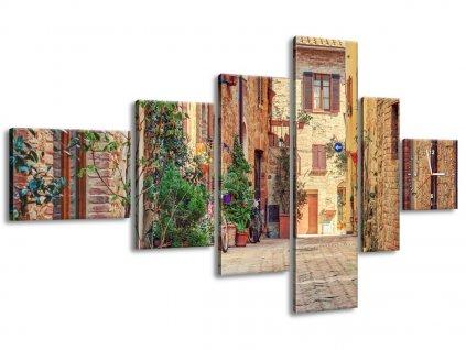 Órás falikép Toszkánai régi utacska 180x100cm  + Ajándék