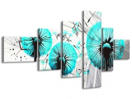 Órás falikép Gyönyörű türkiz pitypangok 180x100cm  + Ajándék