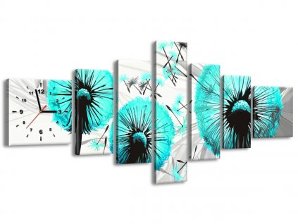 Órás falikép Gyönyörű türkiz pitypangok 160x70cm  + Ajándék