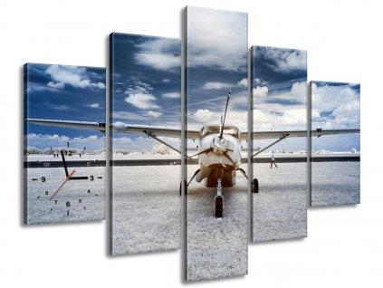 Órás falikép Motoros repülőgép propellerel 150x105cm  + Ajándék