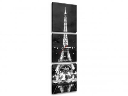 Órás falikép Eiffel-torony fekete-fehér 30x90cm  HD nyomtatás