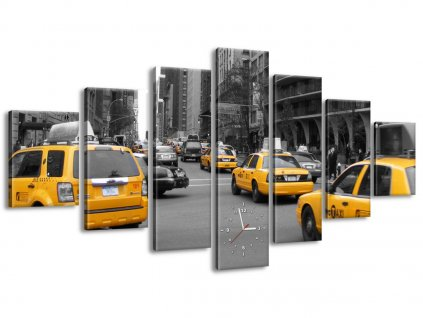 Órás falikép Sárga taxi - CJ Isherwood 210x100cm  HD nyomtatás