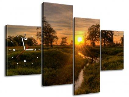 Órás falikép Pihenés a patak felett 120x80cm  HD nyomtatás