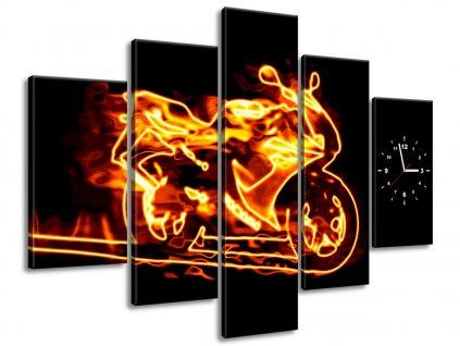 Órás falikép Tüzes motorkerékpár 150x105cm  + Ajándék