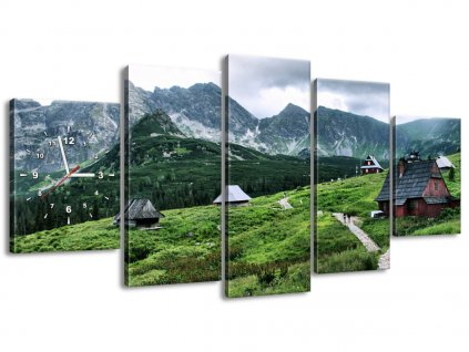 Órás falikép Tátrai faházak 150x70cm  + Ajándék