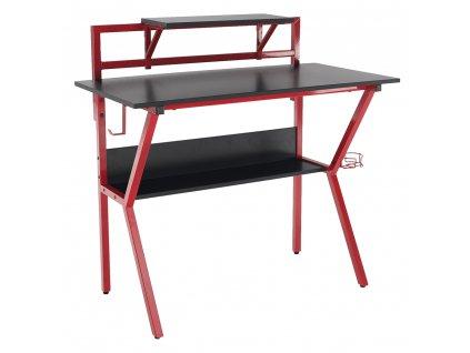 Számítógépasztal/Gamer asztal, piros/fekete, TABER  + Ajándék