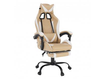 Irodai/gamer fotel, fekete/fehér/bézs, OZGE 2 NEW  + Ajándék