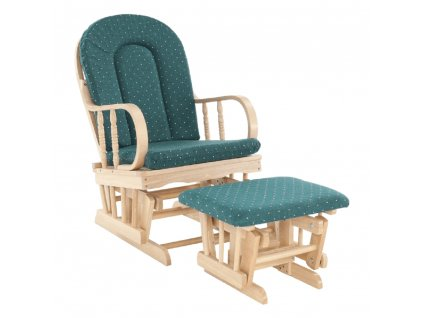 Pihenőfotel zsámollyal, bükkfa,zöldszövet, RELAX GLIDER 87107