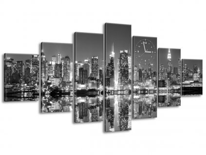 Obraz s hodinami Nočný Manhattan 210x100cm  + Darček