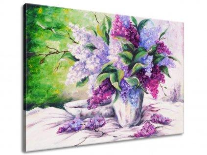 Ručne maľovaný obraz Kytica farebných levandúľ 70x100cm  + Darček