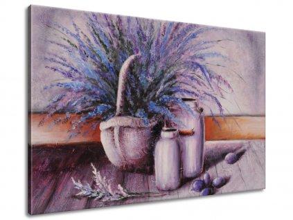 Ručne maľovaný obraz Levandule v košíku  + Darček