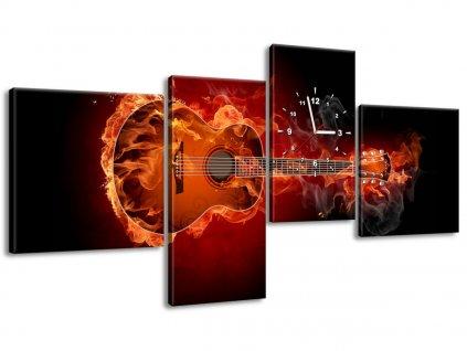 Obraz s hodinami Horiaca gitara 140x70cm  + Darček