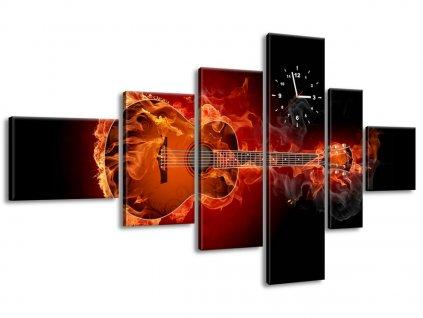 Obraz s hodinami Horiaca gitara 180x100cm  + Darček