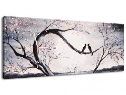 Obraz s hodinami Vtáčia láska na konári  + Darček