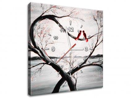 Obraz s hodinami Vtáčia láska  + Darček