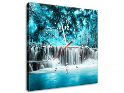 Obraz s hodinami Vodopád v modrej džungli  + Darček
