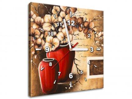 Obraz s hodinami Orchidei v červenej váze  + Darček