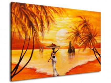 Ručne maľovaný obraz Pokojná chvíľa 120x80cm  100% ručne maľovaný