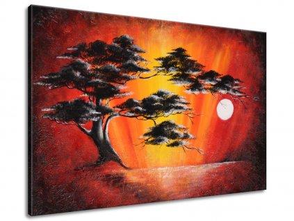 Ručne maľovaný obraz Masívny strom pri západe slnka  100% ručne maľovaný