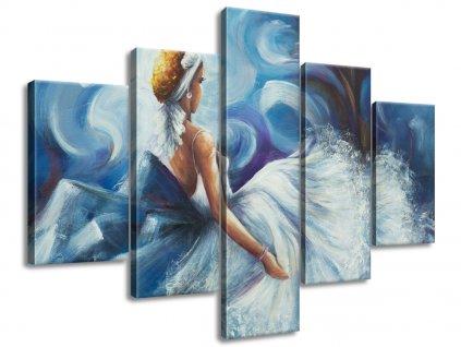Ručne maľovaný obraz Modrá dáma počas tanca 150x70cm  + Darček
