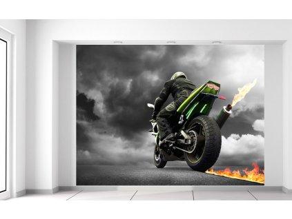 Fototapeta Rýchla motorka s plameňom  + Darček