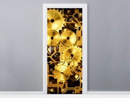 Samolepiaca fólia na dvere Mechanizmus hodín 95x205cm  + Darček
