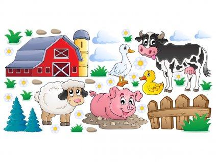 Nálepka na stenu pre deti Vidiecke domáce zvieratá  + Darček