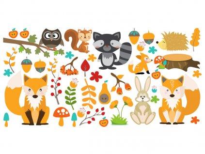 Nálepka na stenu pre deti Jesenné zvieratá  + Darček