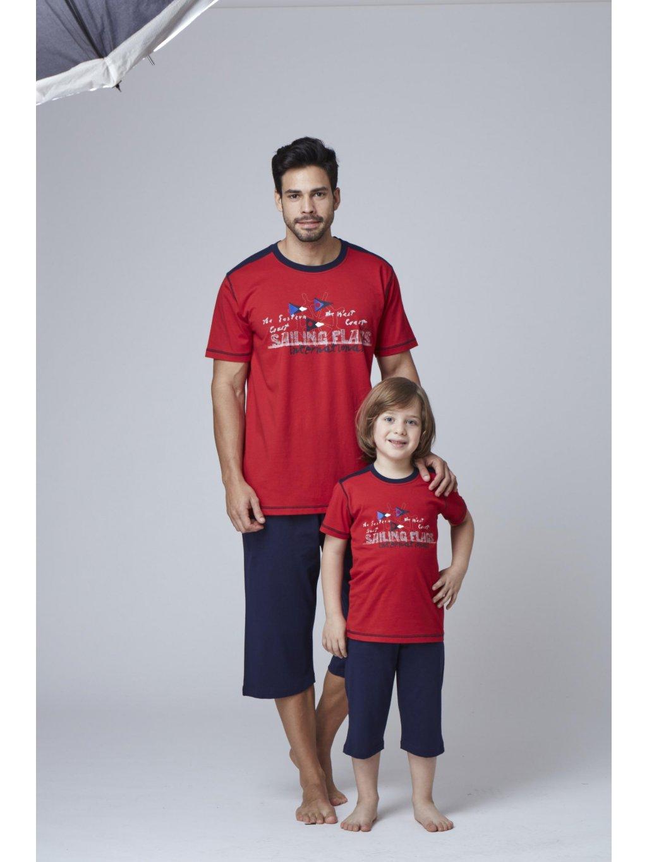 Pánsky komplet,pyžamo SAILING GLAGS 7823 červená