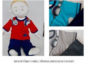 Baby detské pyžamko v 3 farbách, z 100% bavlny, nohavice dole nie sú do patentu