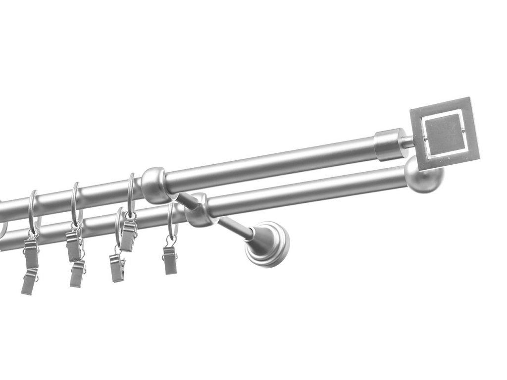 garnyze kovova dvourada stribrna 16mm rubik