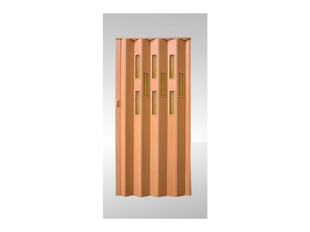 Shrnovací dveře prosklené Buk